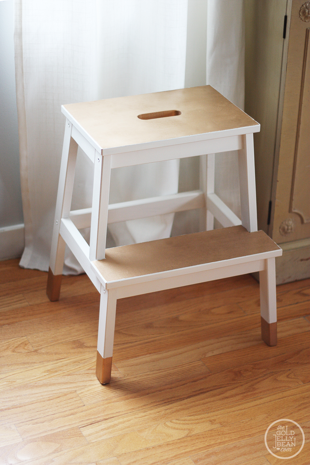 diy painted stool the gold jellybean. Black Bedroom Furniture Sets. Home Design Ideas