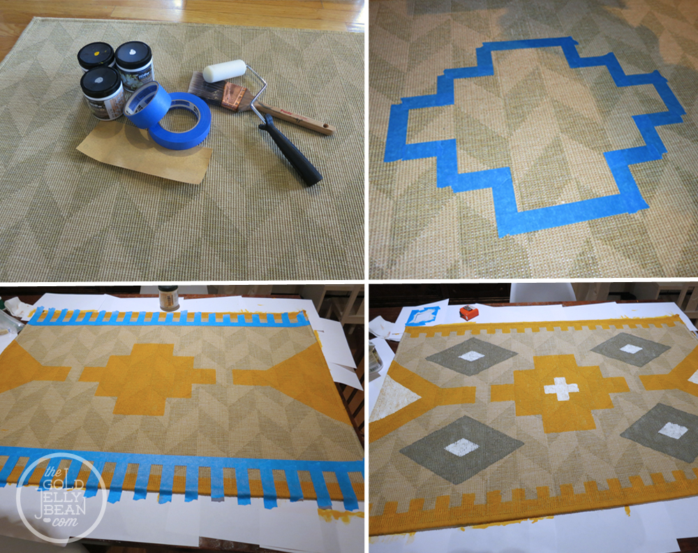 DIY Painted Kilim Rug The Gold Jellybean