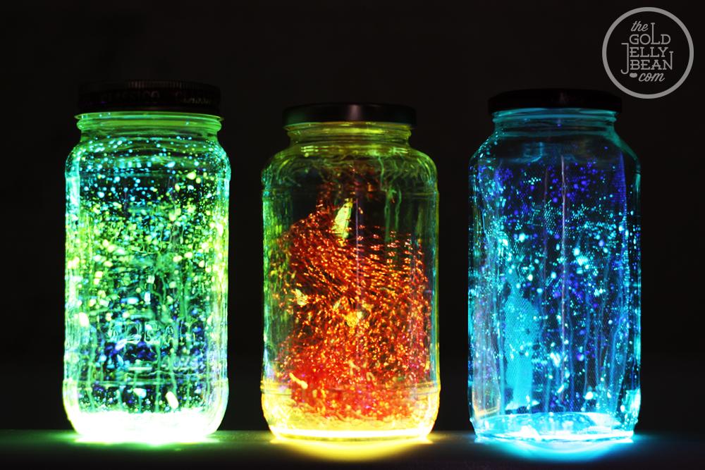 indoor camping activities - glow jars