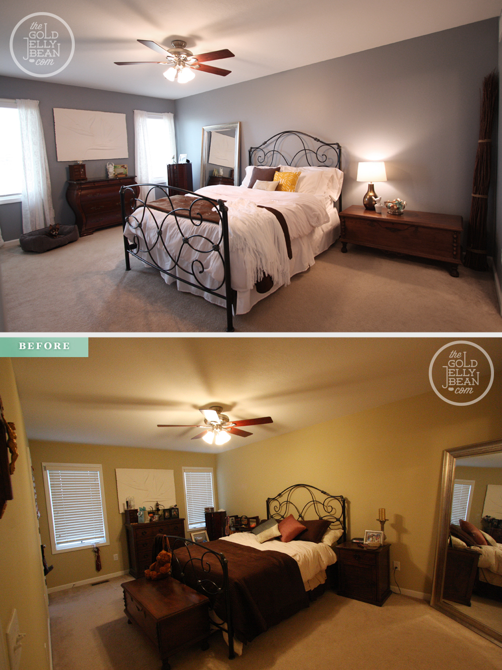 A quick bedroom makeover on a budget the gold jellybean Before and after interior design projects