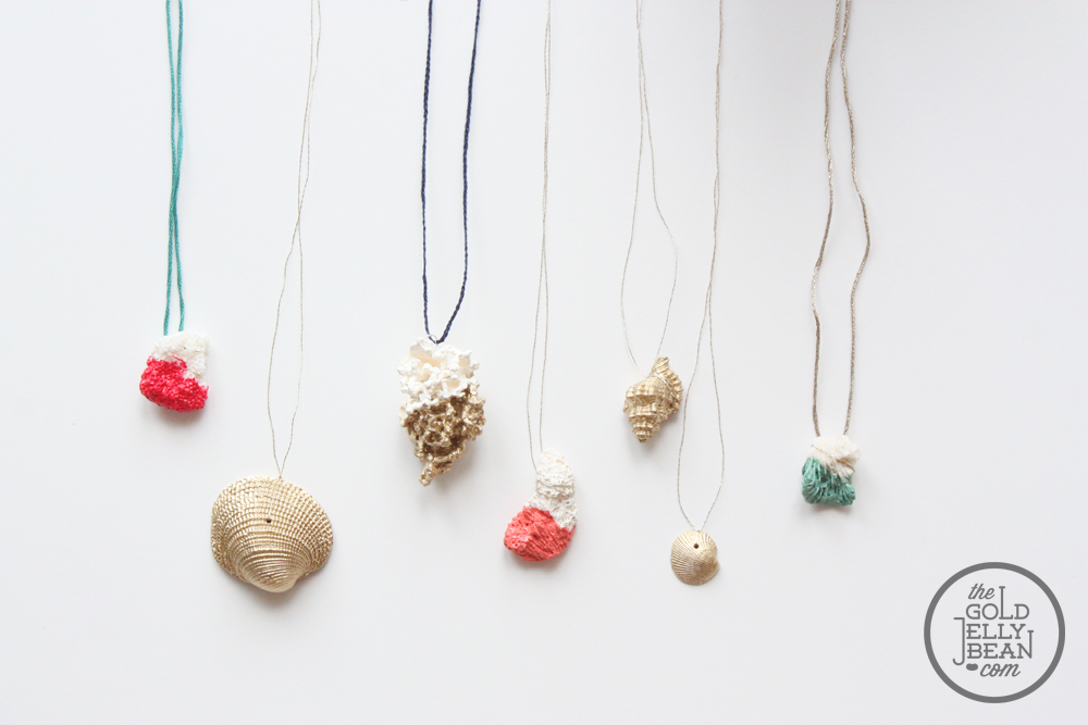 Jewelry diy with paint dipped coral and gold shells the for Shell diy