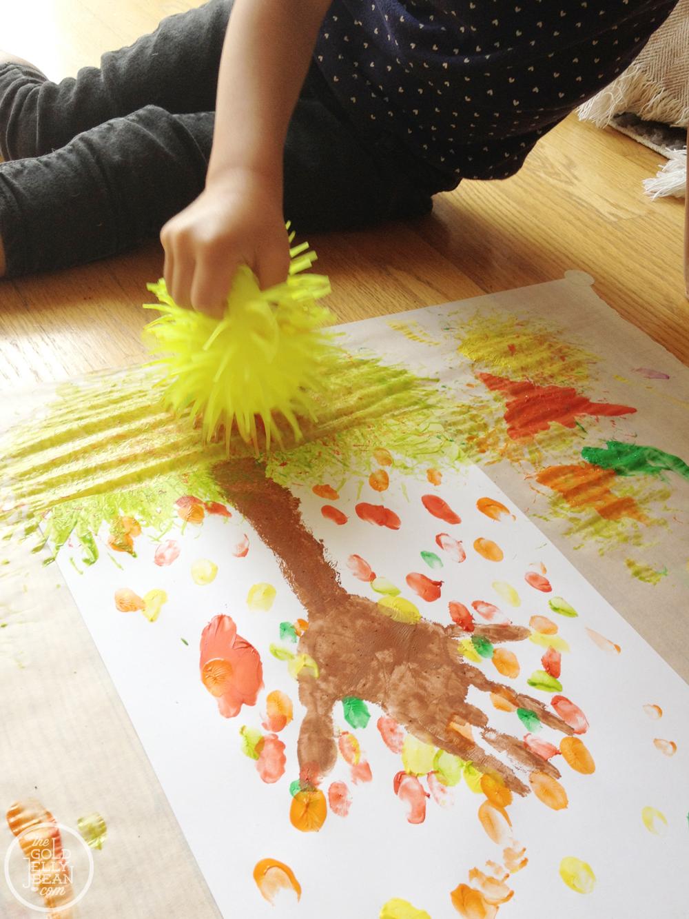 fall artwork finger print trees the gold jellybean. Black Bedroom Furniture Sets. Home Design Ideas