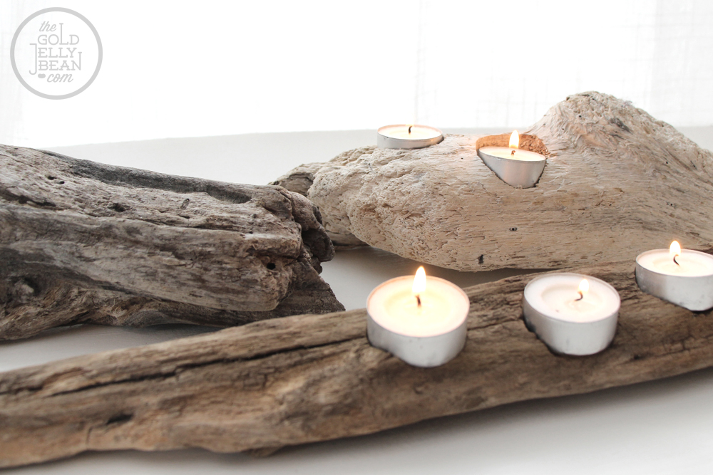DIY Driftwood Votive Candle Holders, via www.thegoldjellybean.com