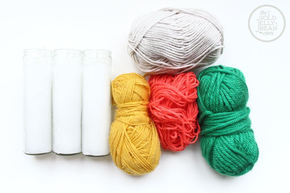 Yarn Wrapped Candles for Spring, via www.thegoldjellybean.com